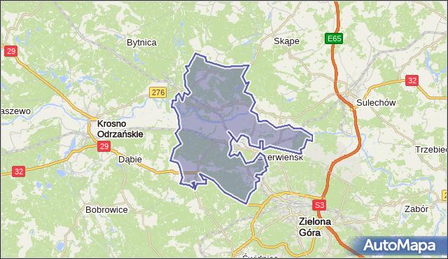 gmina Czerwieńsk - powiat zielonogórski na mapie Targeo