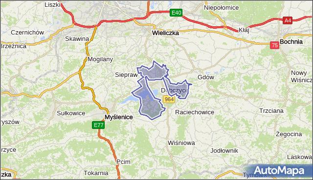 gmina Dobczyce - powiat myślenicki na mapie Targeo