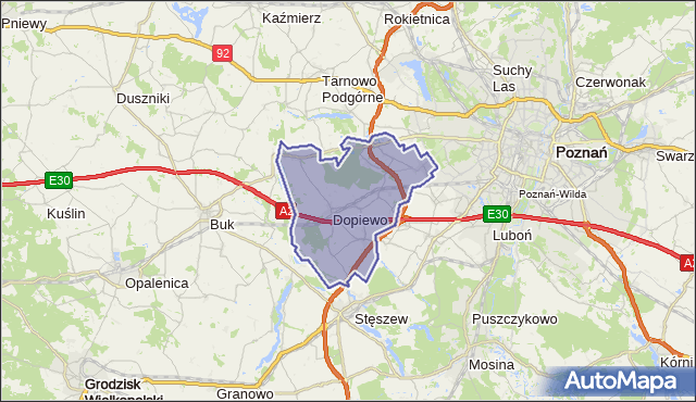 gmina Dopiewo - powiat poznański na mapie Targeo