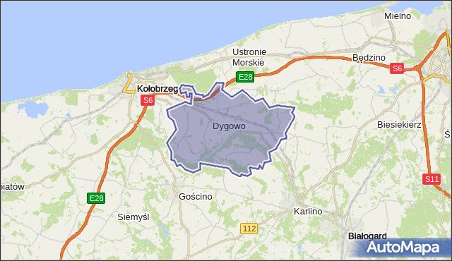 gmina Dygowo - powiat kołobrzeski na mapie Targeo