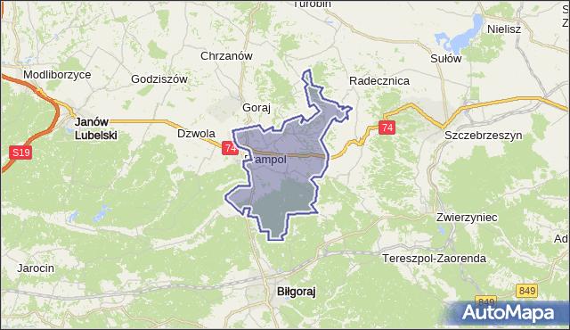 gmina Frampol - powiat biłgorajski na mapie Targeo