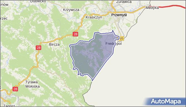 gmina Fredropol - powiat przemyski na mapie Targeo