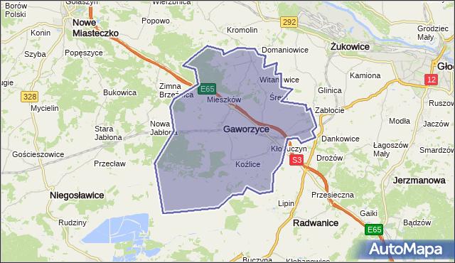gmina Gaworzyce - powiat polkowicki na mapie Targeo