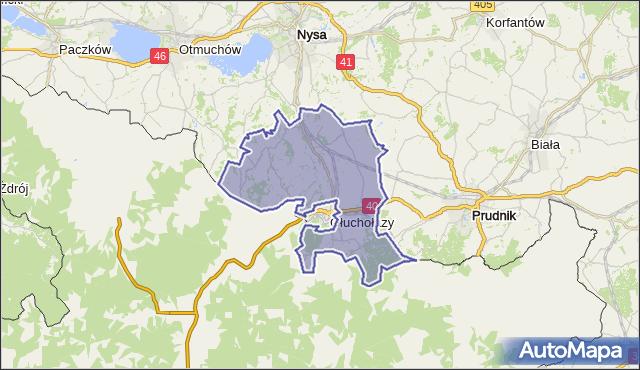 gmina Głuchołazy - powiat nyski na mapie Targeo