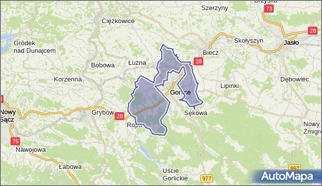 gmina Gorlice - powiat gorlicki na mapie Targeo