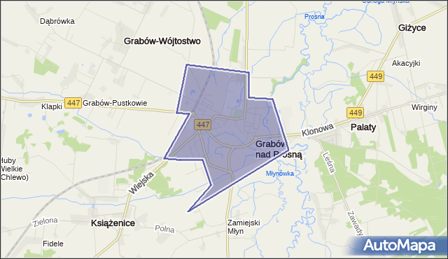 gmina Grabów nad Prosną - powiat ostrzeszowski na mapie Targeo