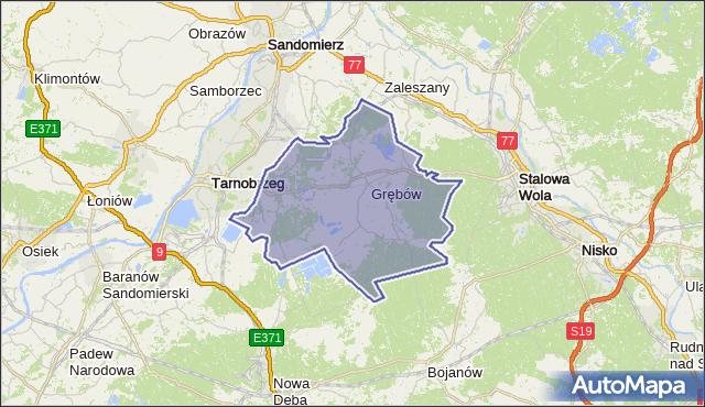 gmina Grębów - powiat tarnobrzeski na mapie Targeo