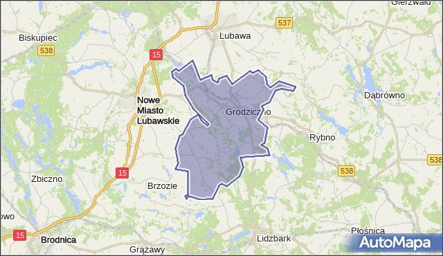 gmina Grodziczno - powiat nowomiejski na mapie Targeo