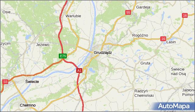 gmina Grudziądz - powiat Grudziądz na mapie Targeo