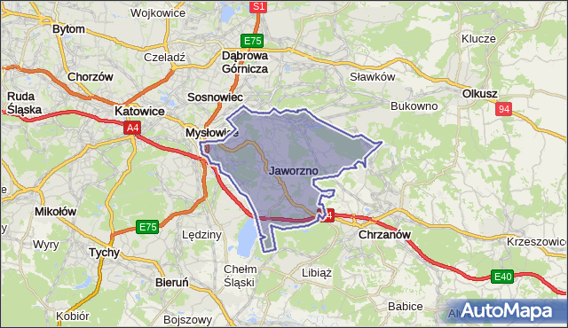gmina Jaworzno - powiat Jaworzno na mapie Targeo