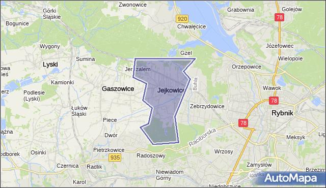 gmina Jejkowice - powiat rybnicki na mapie Targeo