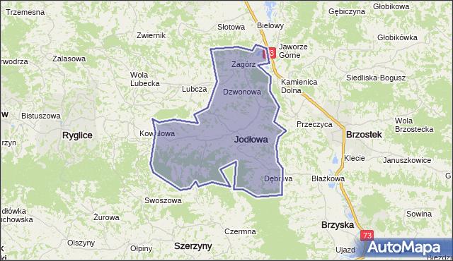 gmina Jodłowa - powiat dębicki na mapie Targeo