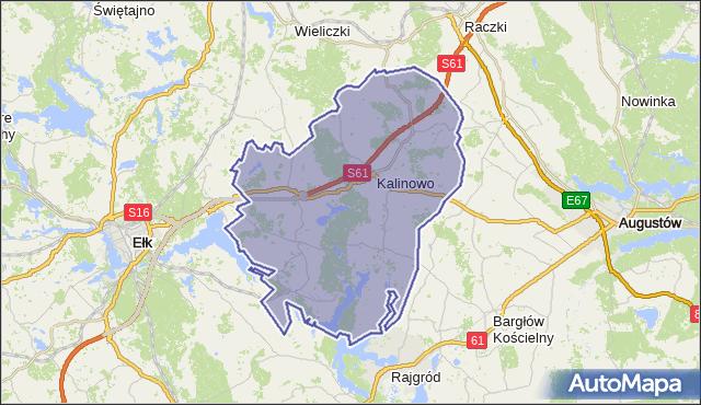 gmina Kalinowo - powiat ełcki na mapie Targeo