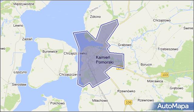 gmina Kamień Pomorski - powiat kamieński na mapie Targeo