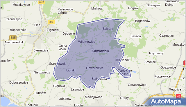 gmina Kamiennik - powiat nyski na mapie Targeo