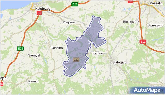 gmina Karlino - powiat białogardzki na mapie Targeo