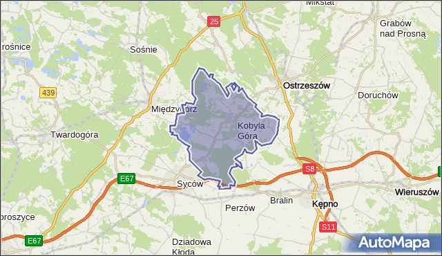 gmina Kobyla Góra - powiat ostrzeszowski na mapie Targeo