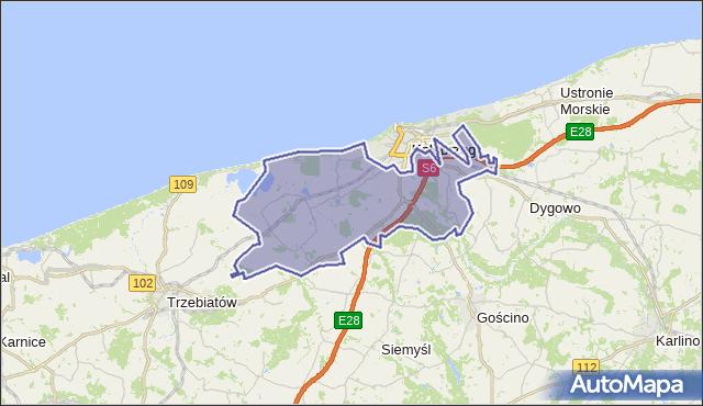 gmina Kołobrzeg - powiat kołobrzeski na mapie Targeo