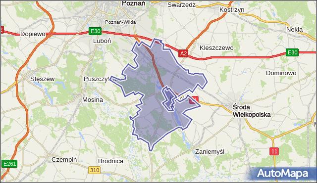 gmina Kórnik - powiat poznański na mapie Targeo