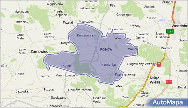gmina Kozłów - powiat miechowski na mapie Targeo