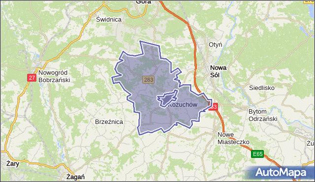 gmina Kożuchów - powiat nowosolski na mapie Targeo