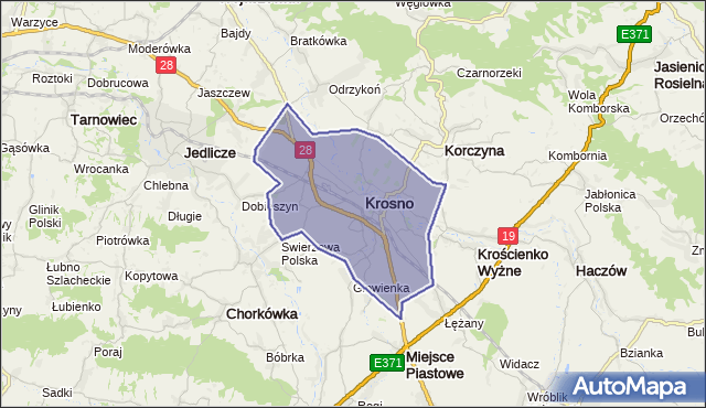 gmina Krosno - powiat Krosno na mapie Targeo