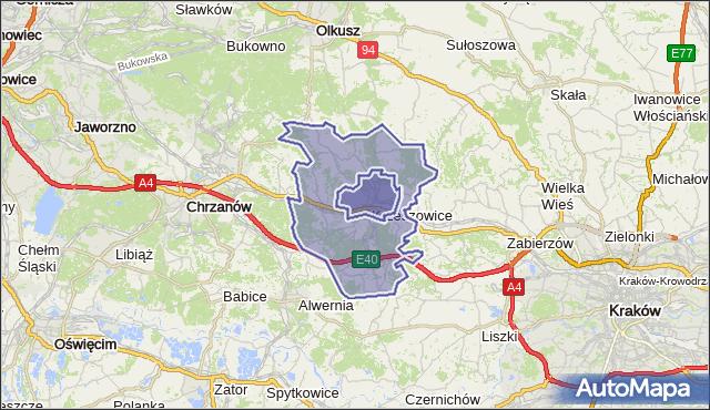 gmina Krzeszowice - powiat krakowski na mapie Targeo