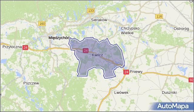 gmina Kwilcz - powiat międzychodzki na mapie Targeo