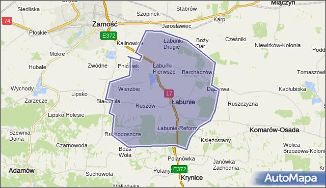 gmina Łabunie - powiat zamojski na mapie Targeo
