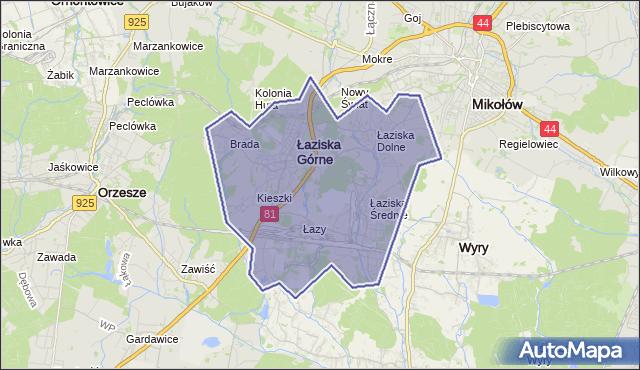 gmina Łaziska Górne - powiat mikołowski na mapie Targeo