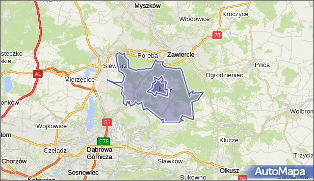 gmina Łazy - powiat zawierciański na mapie Targeo