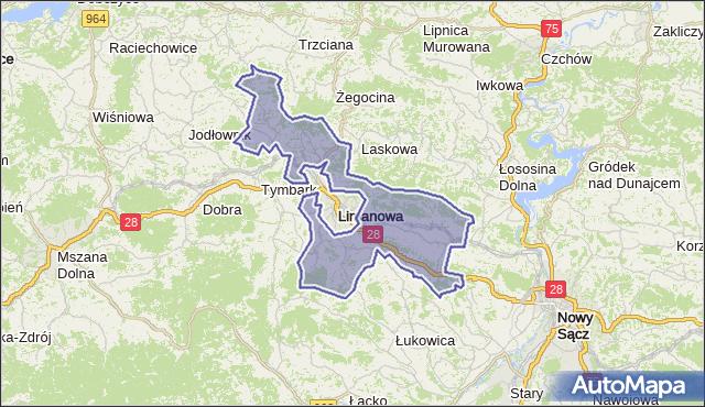 gmina Limanowa - powiat limanowski na mapie Targeo