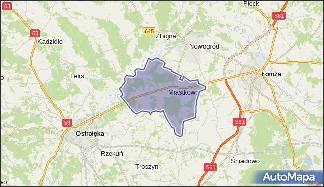 gmina Miastkowo - powiat łomżyński na mapie Targeo