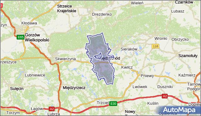 gmina Międzychód - powiat międzychodzki na mapie Targeo