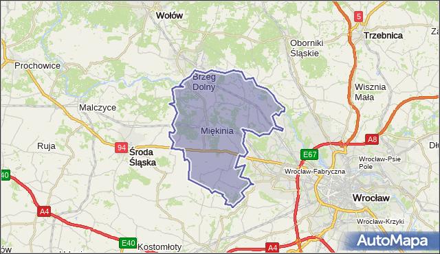 gmina Miękinia - powiat średzki na mapie Targeo