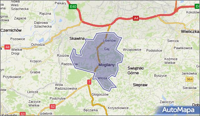 gmina Mogilany - powiat krakowski na mapie Targeo