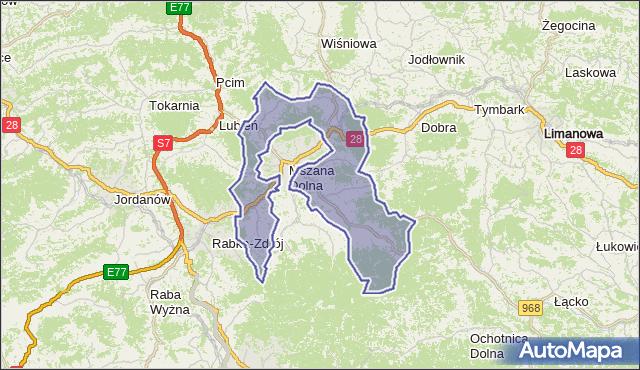 gmina Mszana Dolna - powiat limanowski na mapie Targeo