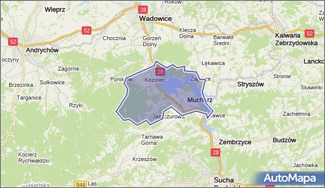 gmina Mucharz - powiat wadowicki na mapie Targeo