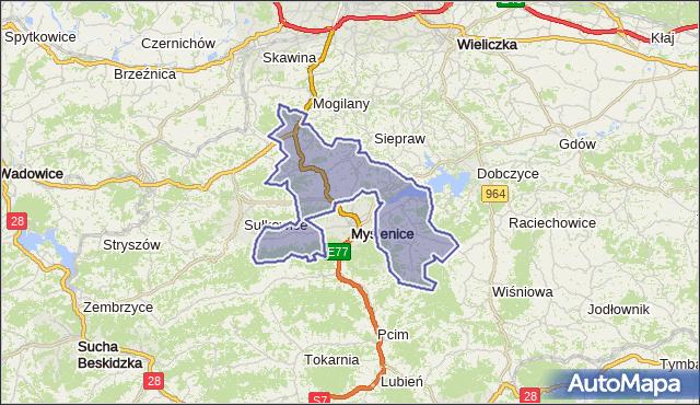 gmina Myślenice - powiat myślenicki na mapie Targeo