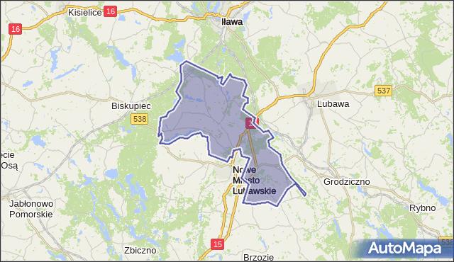 gmina Nowe Miasto Lubawskie - powiat nowomiejski na mapie Targeo