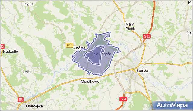gmina Nowogród - powiat łomżyński na mapie Targeo