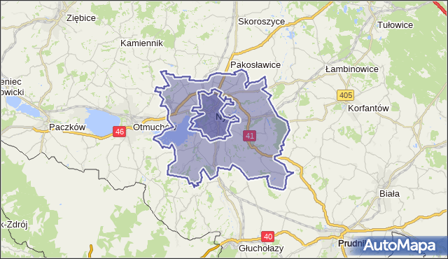gmina Nysa - powiat nyski na mapie Targeo