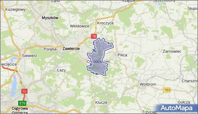 gmina Ogrodzieniec - powiat zawierciański na mapie Targeo