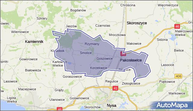 gmina Pakosławice - powiat nyski na mapie Targeo