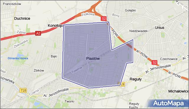 gmina Piastów - powiat pruszkowski na mapie Targeo