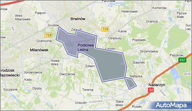gmina Podkowa Leśna - powiat grodziski na mapie Targeo