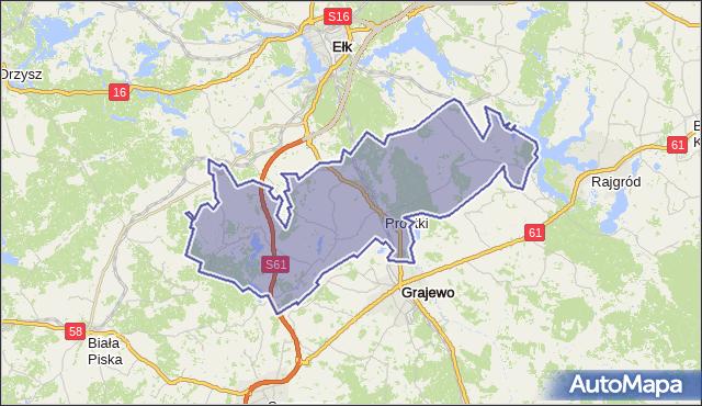 gmina Prostki - powiat ełcki na mapie Targeo