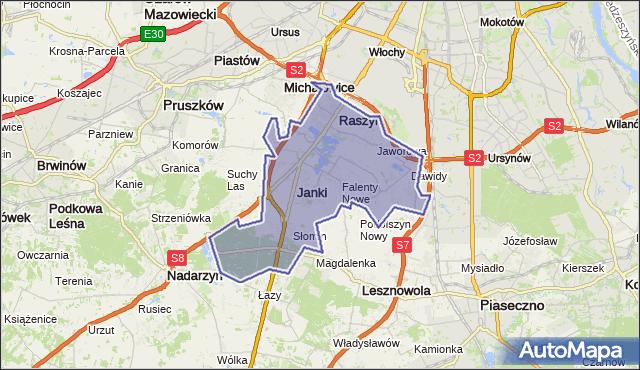 gmina Raszyn - powiat pruszkowski na mapie Targeo