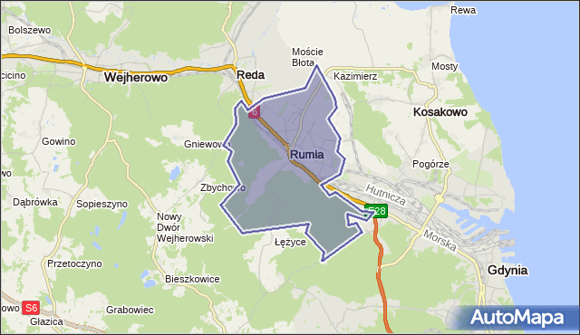 gmina Rumia - powiat wejherowski na mapie Targeo