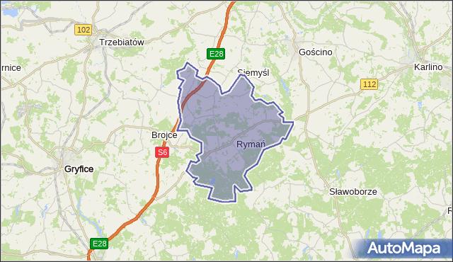 gmina Rymań - powiat kołobrzeski na mapie Targeo